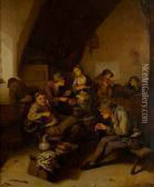 Topers Smoking And Drinking In A Tavern Interior Oil Painting - Cornelis (Pietersz.) Bega