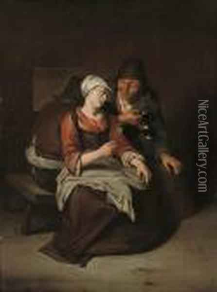 A Peasant Offering A Young Girl A Glass Of Wine Oil Painting - Cornelis (Pietersz.) Bega