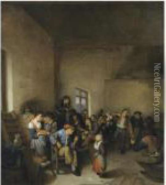 A Tavern Interior With Peasants Carousing Oil Painting - Cornelis (Pietersz.) Bega