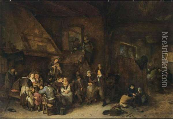 A Tavern Interior With Peasants Making Music And Children Playing In The Foreground Oil Painting - Cornelis (Pietersz.) Bega