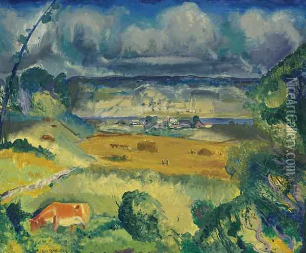 Clouds And Meadow Oil Painting - George Wesley Bellows