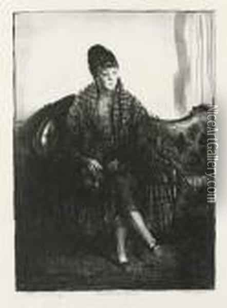 The Plaid Shawl Oil Painting - George Wesley Bellows