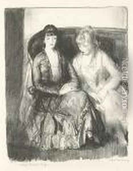 Emma And Marjorie On A Sofa Oil Painting - George Wesley Bellows