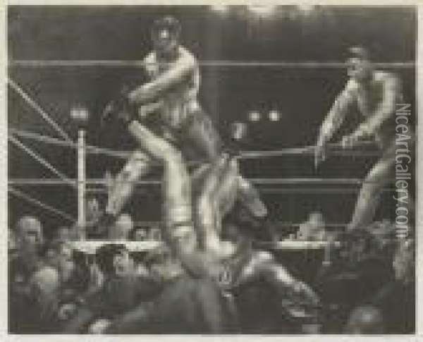 Dempsey And Firpo Oil Painting - George Wesley Bellows