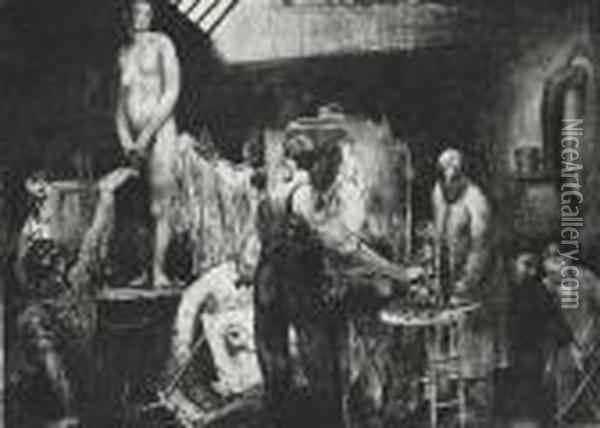 The Life Class, Second Stone Oil Painting - George Wesley Bellows