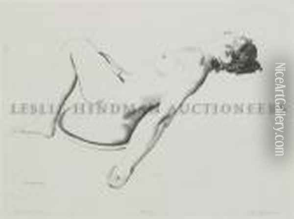 Nude Study, Woman Lying On A Pillow Oil Painting - George Wesley Bellows