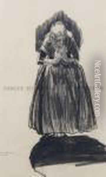 Study Of An Old Lady Oil Painting - George Wesley Bellows