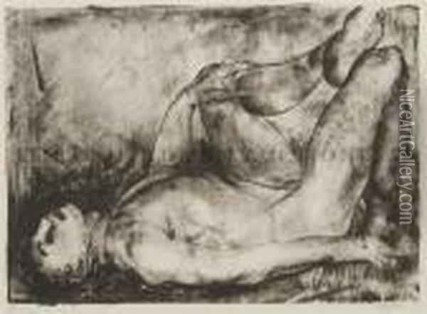 Man On His Back, Nude Oil Painting - George Wesley Bellows
