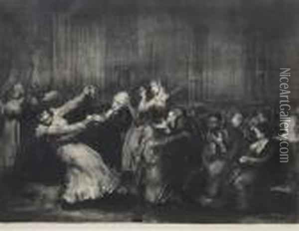Dance In A Madhouse Oil Painting - George Wesley Bellows