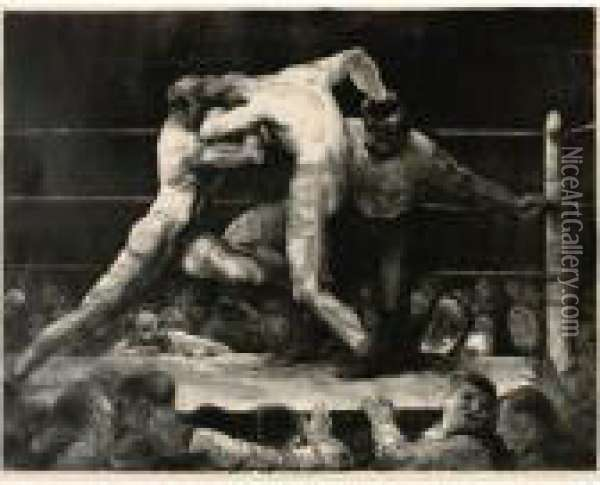 A Stag At Sharkey's Oil Painting - George Wesley Bellows
