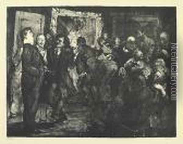 Artists Judging Works Of Art. Oil Painting - George Wesley Bellows