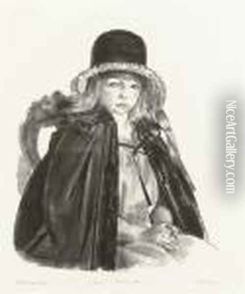 Jean In A Black Hat, First State Oil Painting - George Wesley Bellows