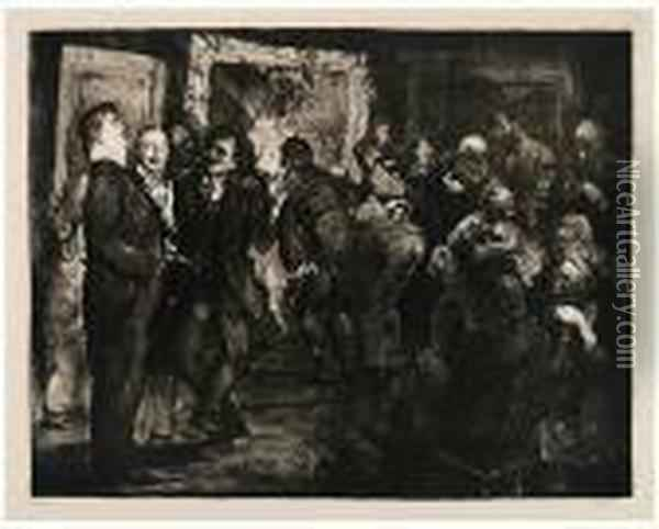 Artists Judging Works Of Art Oil Painting - George Wesley Bellows