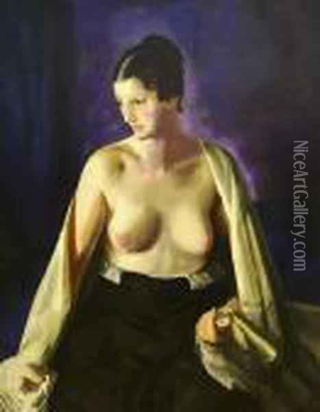Nude With The White Shawl Oil Painting - George Wesley Bellows