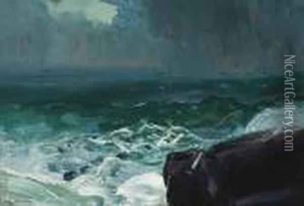 Approach Of Rain Oil Painting - George Wesley Bellows