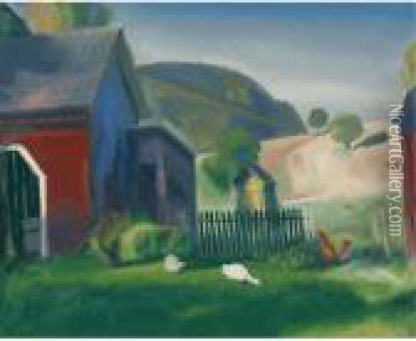 Barnyard And Chickens Oil Painting - George Wesley Bellows