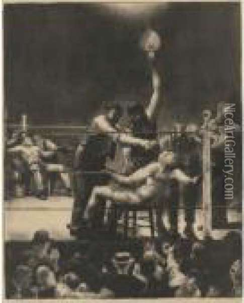 Between Rounds, Small, Second Stone (m. 144) Oil Painting - George Wesley Bellows
