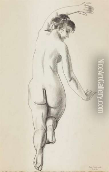 Nude With Arm Upraised Oil Painting - George Wesley Bellows