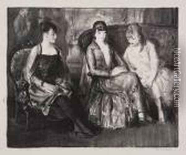 Elsie, Emma And Marjorie (second Stone) Oil Painting - George Wesley Bellows