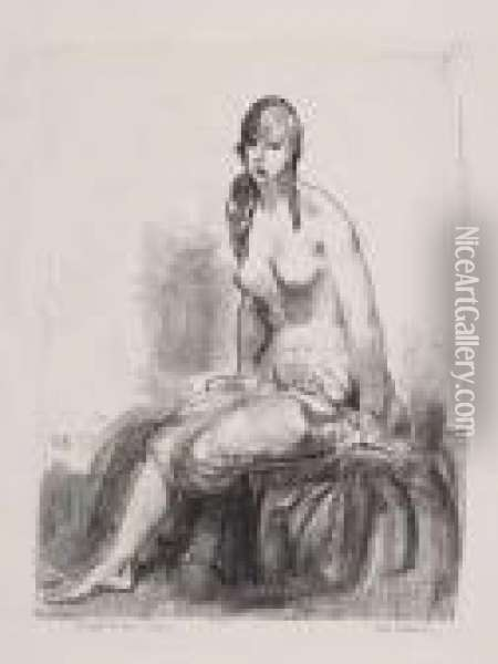 Morning, Nude Sketch Oil Painting - George Wesley Bellows