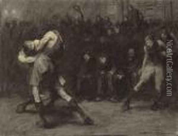 Basketball Oil Painting - George Wesley Bellows