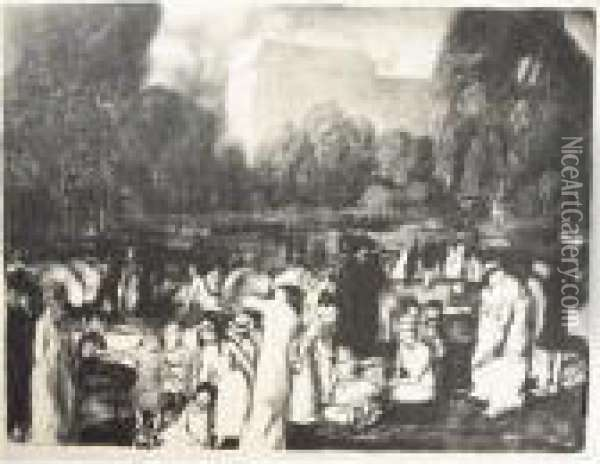 In The Park, Light (m. 30) Oil Painting - George Wesley Bellows