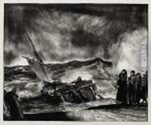 Allan Donn Puts To Sea Oil Painting - George Wesley Bellows