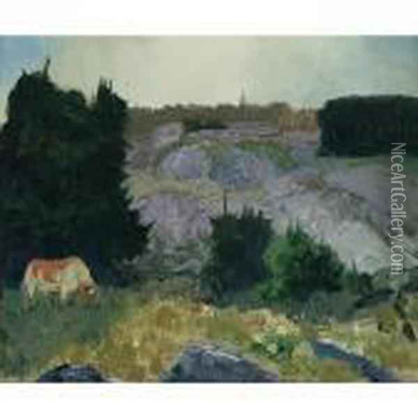 Edge Of The Pasture - Glow Of The Sun Oil Painting - George Wesley Bellows