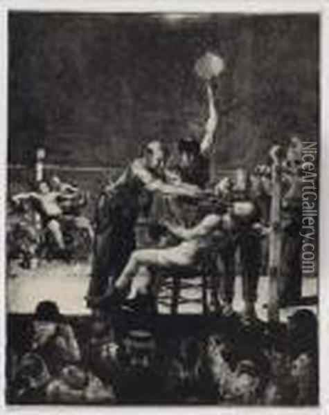 Between Rounds Oil Painting - George Wesley Bellows