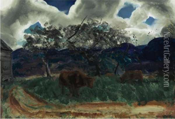 Overlook Road Oil Painting - George Wesley Bellows