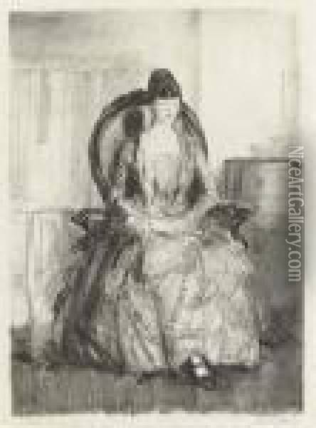 Lady With A Fan Oil Painting - George Wesley Bellows