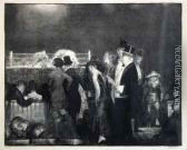 Preliminaries (preliminaries To The Big Bout) (mason 24) Oil Painting - George Wesley Bellows