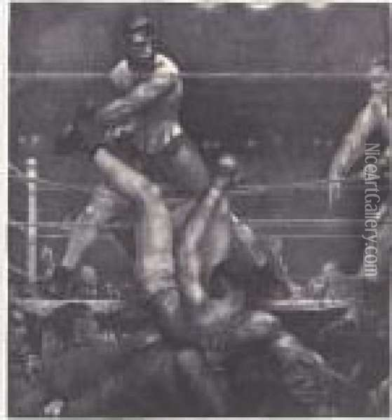 Dempsey Through The Ropes (m. 182) Oil Painting - George Wesley Bellows
