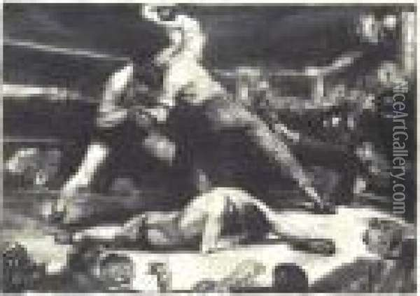 A Knockout (m. 92) Oil Painting - George Wesley Bellows