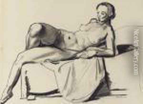 Nude Study, Classic On A Couch Oil Painting - George Wesley Bellows