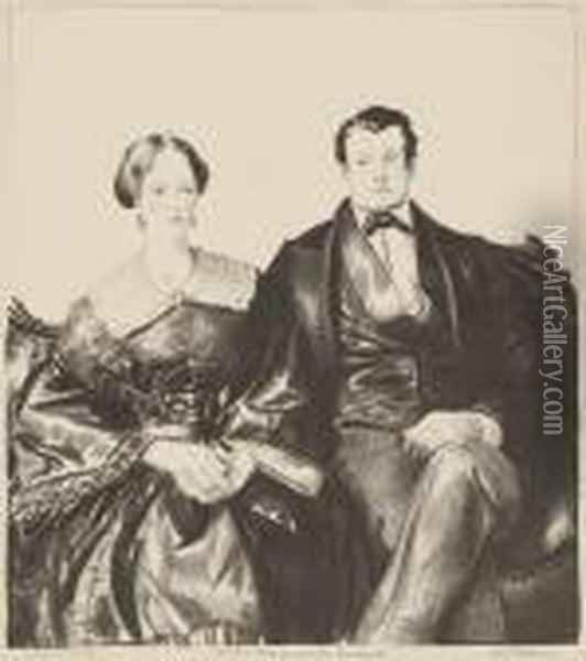 Auntie Mason And Her Husband Oil Painting - George Wesley Bellows