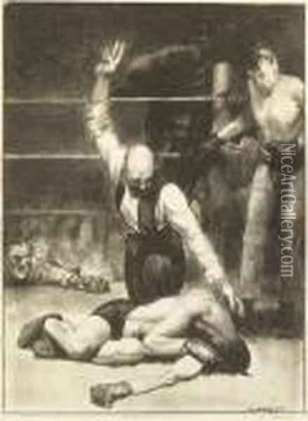 Counted Out, Second Stone Oil Painting - George Wesley Bellows