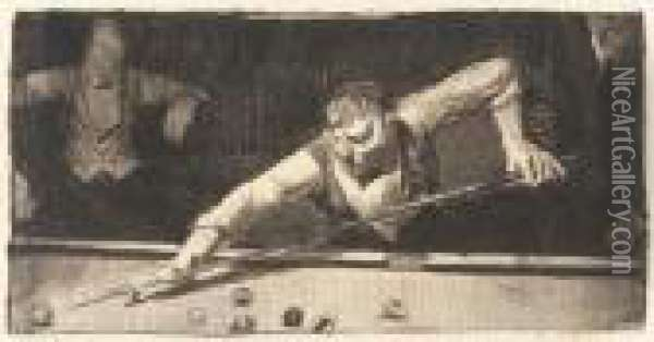 The Pool-player (m. 83; B. 58) Oil Painting - George Wesley Bellows