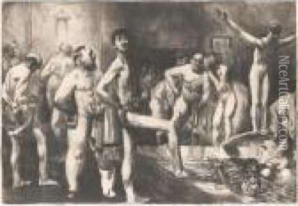 The Business-men's Bath (m.145; B. 125) Oil Painting - George Wesley Bellows