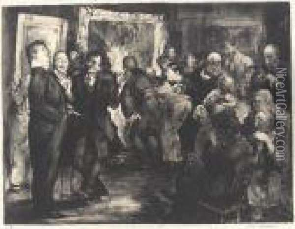 Artists Judging Works Of Art (m. 18) Oil Painting - George Wesley Bellows