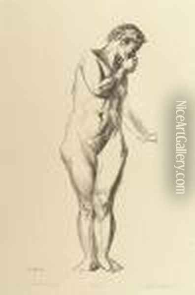 Nude Study; Girl Standing With Hand Raised To Mouth Oil Painting - George Wesley Bellows