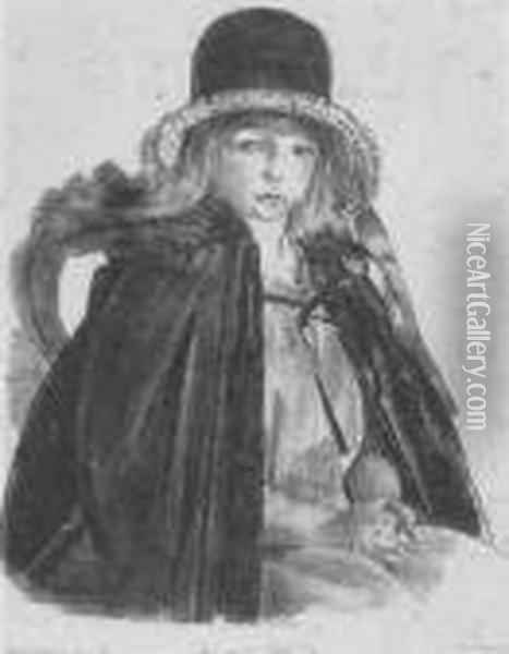 Jean In A Black Hat Oil Painting - George Wesley Bellows