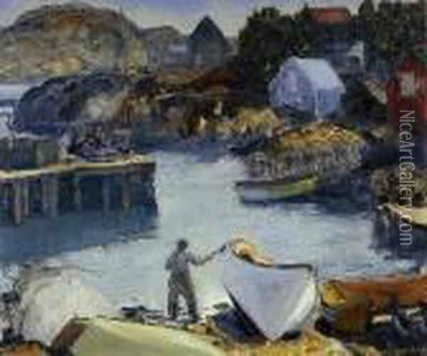 Cleaning His Lobster Boat Oil Painting - George Wesley Bellows
