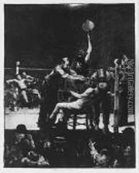 Between Rounds, Large, First Stone (m. 25) Oil Painting - George Wesley Bellows
