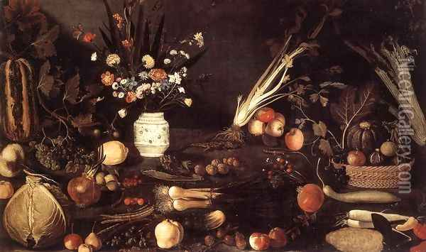 Flowers, Fruit, Vegetables and Two Lizards 1607 Oil Painting - Master of the Hartford Still-life