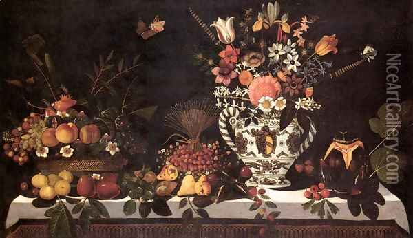 Fruit Still-Life with a Vase of Flowers Oil Painting - Master of the Hartford Still-life