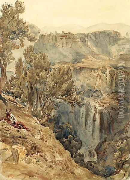 A view of Tivoli with an Italian peasant resting near a cliff Oil Painting - Paul Huet