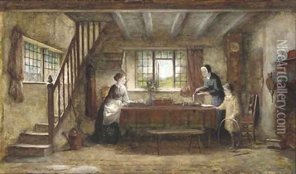A letter of importance Oil Painting - Frederick Daniel Hardy