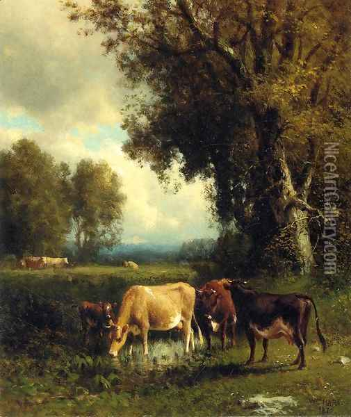 Cows in the Meadow Oil Painting - William Howard Hart