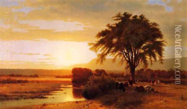 Sunset in the Valley Oil Painting - William Howard Hart